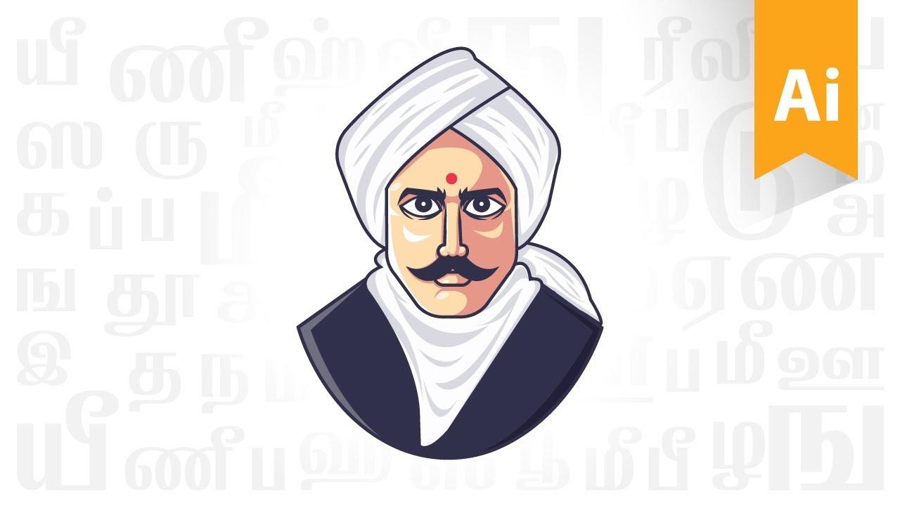 Digital bharathiyar mascot time lapse adobe illustrator