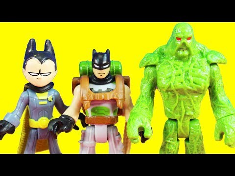 Imaginext Teen Titans Go Robin & Batmobile And Swamp Thing Rescue Batman From Steppenwolf