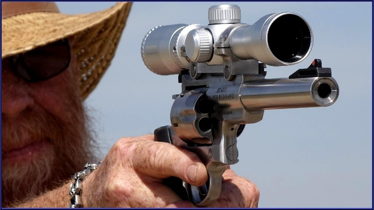 scoped 44 mag revolver real life snipe demonstration youtube