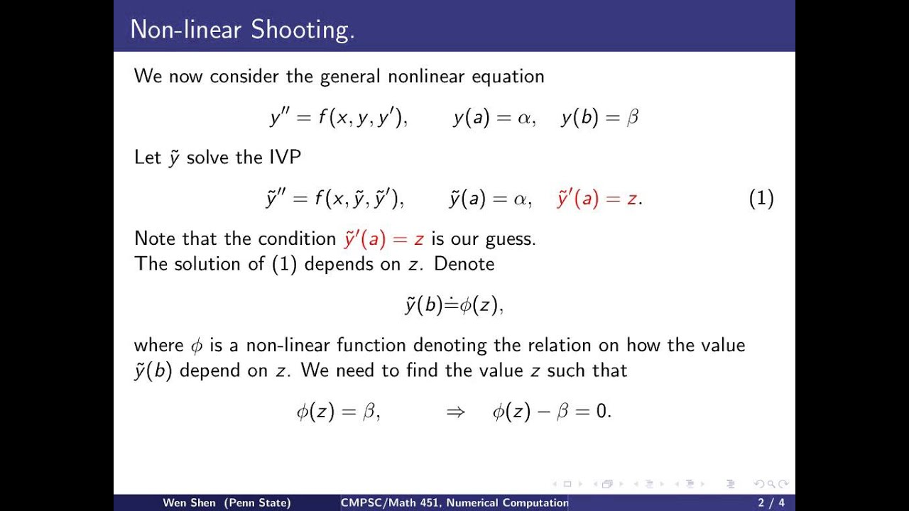 ch10 4  Nonlinear shooting method  Wen Shen