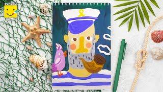 Как нарисовать Капитана - урок рисования для детей 4-7 лет. Дети рисуют Капитана поэтапно