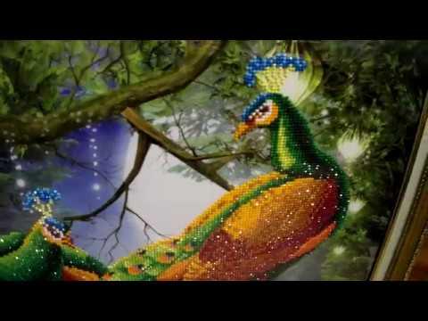 Алмазная мозаика Павлины в сказочном лесу(готовая работа+оформление)