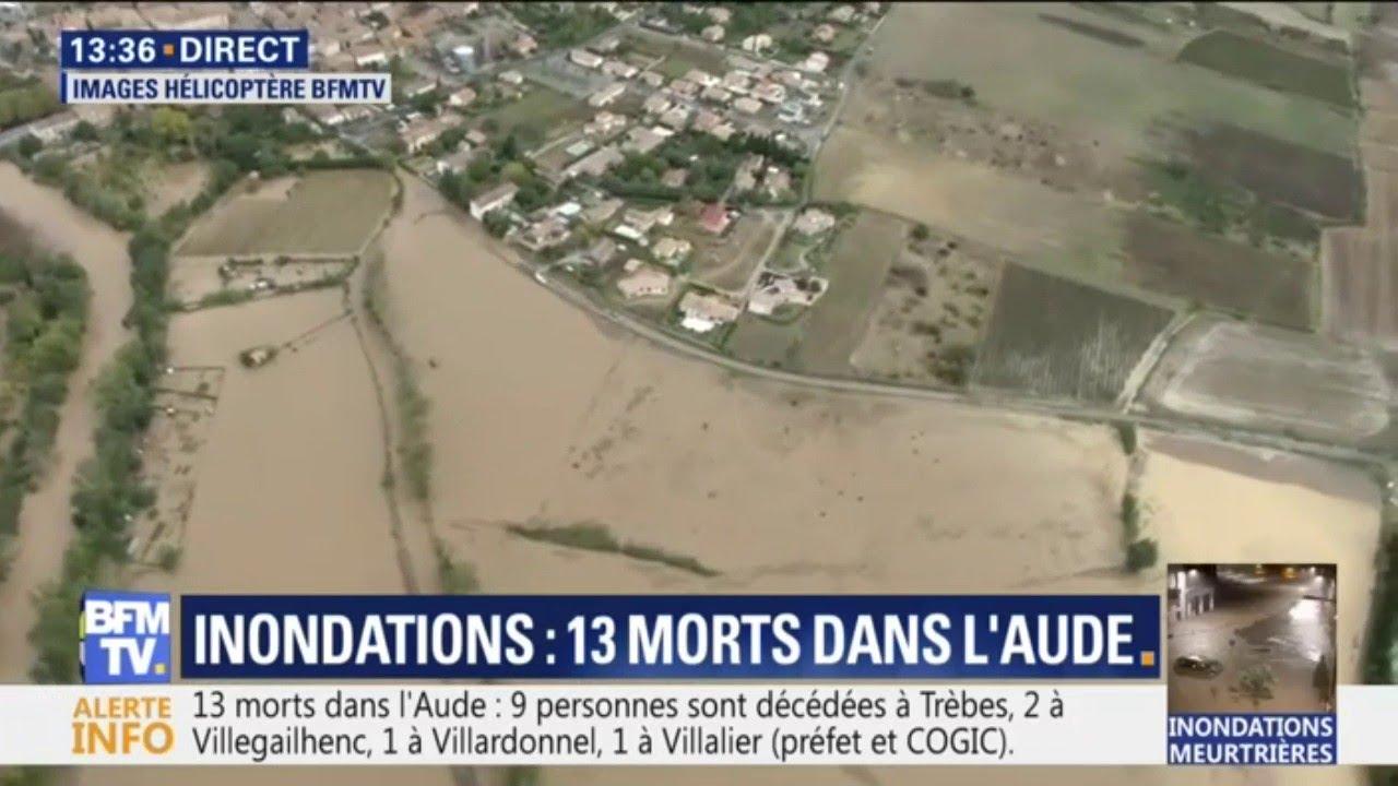Les images impressionnantes des inondations dans l'Aude filmées vus du ciel
