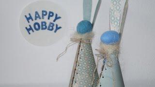 Osterhasen basteln aus Designpapier, Styroporei, Faden oder Fleece-Decke,  DIY Ostern