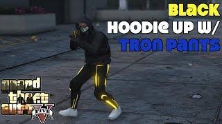 Black Hoodie Up w/ Tron Pants Glitch- GTA 5 Online