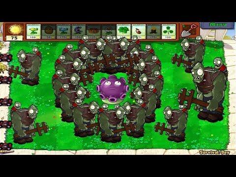 Plants vs Zombies hack - 3 Gloom Shroom vs Giga-Gargantuar