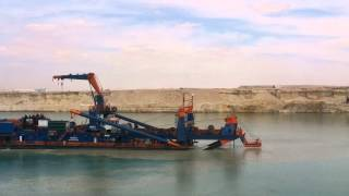 New Suez Canal in the central sector and the work of dredging and excavation February 2015