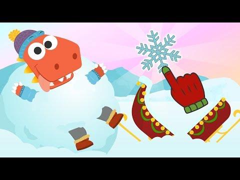 Aprende con Eddie a hacer bolas de nieve ❄ Eddie el dinosaurio juega con la nieve