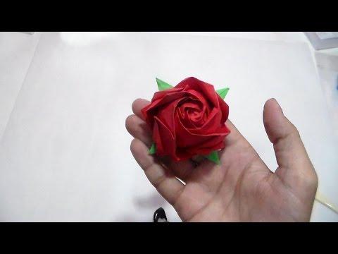 How to make Fukuyama rose by Toshikazu Kawasaki-(HD) وردة اوريجامي