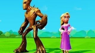 Мультик игра для детей приключения Рапунцель и Грут и гонки с Тачки машинки Дисней Rapunzel & Groot