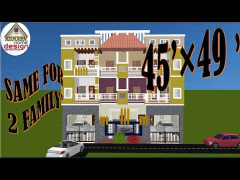 Download SAME TWO HOUSE II FOR TWO FAMILY II 45 फीट x 49 फीट  II 2-2 BHK II  45 ft by 49 ft PLAN II