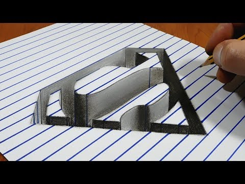 3D Trick Art on Paper   Superman Symbol