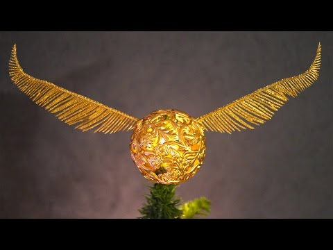 How To Make A Golden Snitch Tree Topper! Harry Potter Christmas!