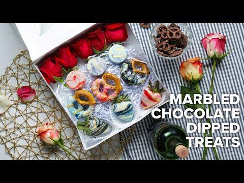 Marbled Chocolate Dipped Treats • Tasty Recipes