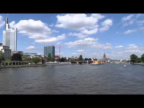 Boat ride on river Main in Frankfurt Germany