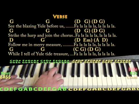 Deck the Halls (Christmas) Piano Cover Lesson in G with Chords/Lyrics