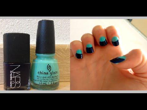 Tuto nail art ongles demi lune half moon d butant facile c line youtube - Nail art debutant ...