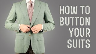 How To Button A Suit, Jacket, Blazer, Vest, Overcoat, & Tuxedo - Men's Suits Buttoning Guide