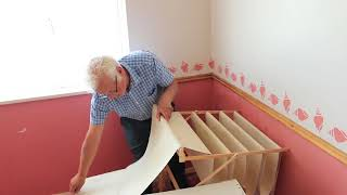 How to easily wallpaper a ceiling - No ladders required!  NEW Wallpaper DIY TOOL