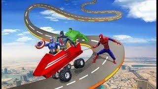 ► Extreme Car Stunts Racing - The Amazing Spiderman Impossible Banana car Ride