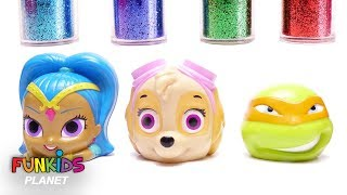 Learn Colors for Kids: Paw Patrol, Ninja Turtles, Shimmer & Shine Glitter Dirty Mess Bath time