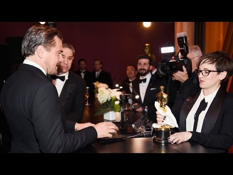 Leonardo DiCaprio's Reaction to Getting His Oscar Engraved is Amazing