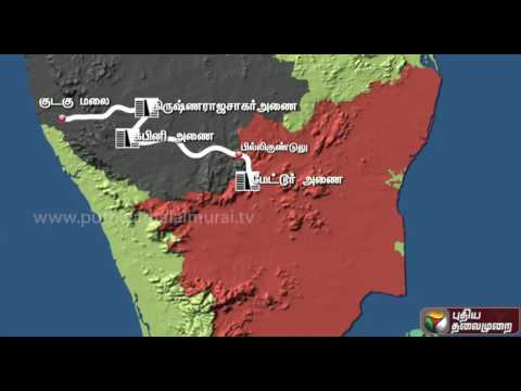 The route of Cauvery water from Karnataka to Tamil Nadu