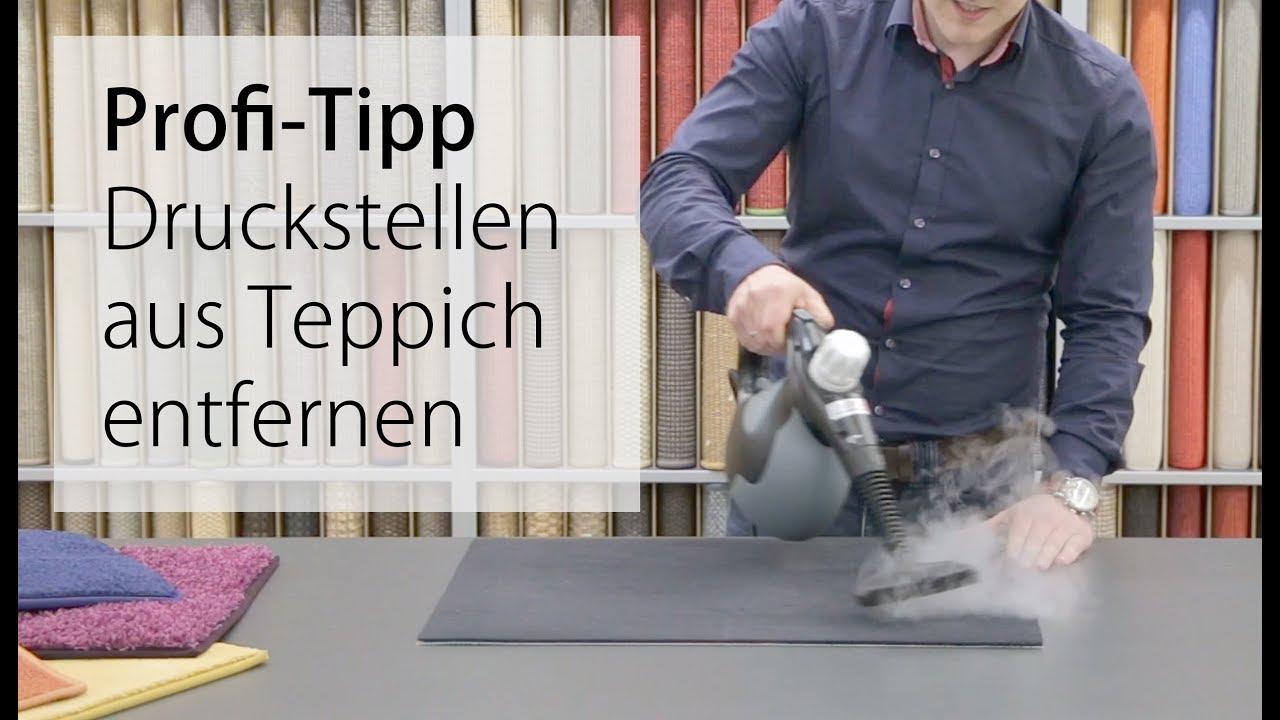 druckstellen aus teppich entfernen profi tipp mit wasserdampf youtube. Black Bedroom Furniture Sets. Home Design Ideas