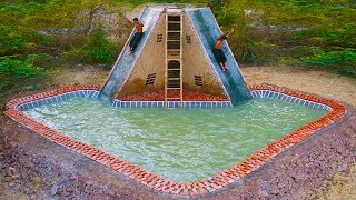 Build Big Swimming Pool In Front Of  Water Slide House