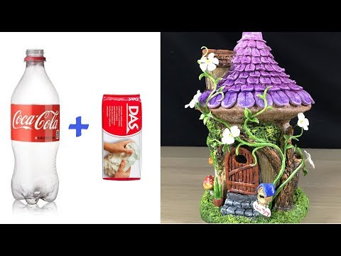DIY Flowering vine Fairy House Lamp Using Plastic Bottles and Das clay