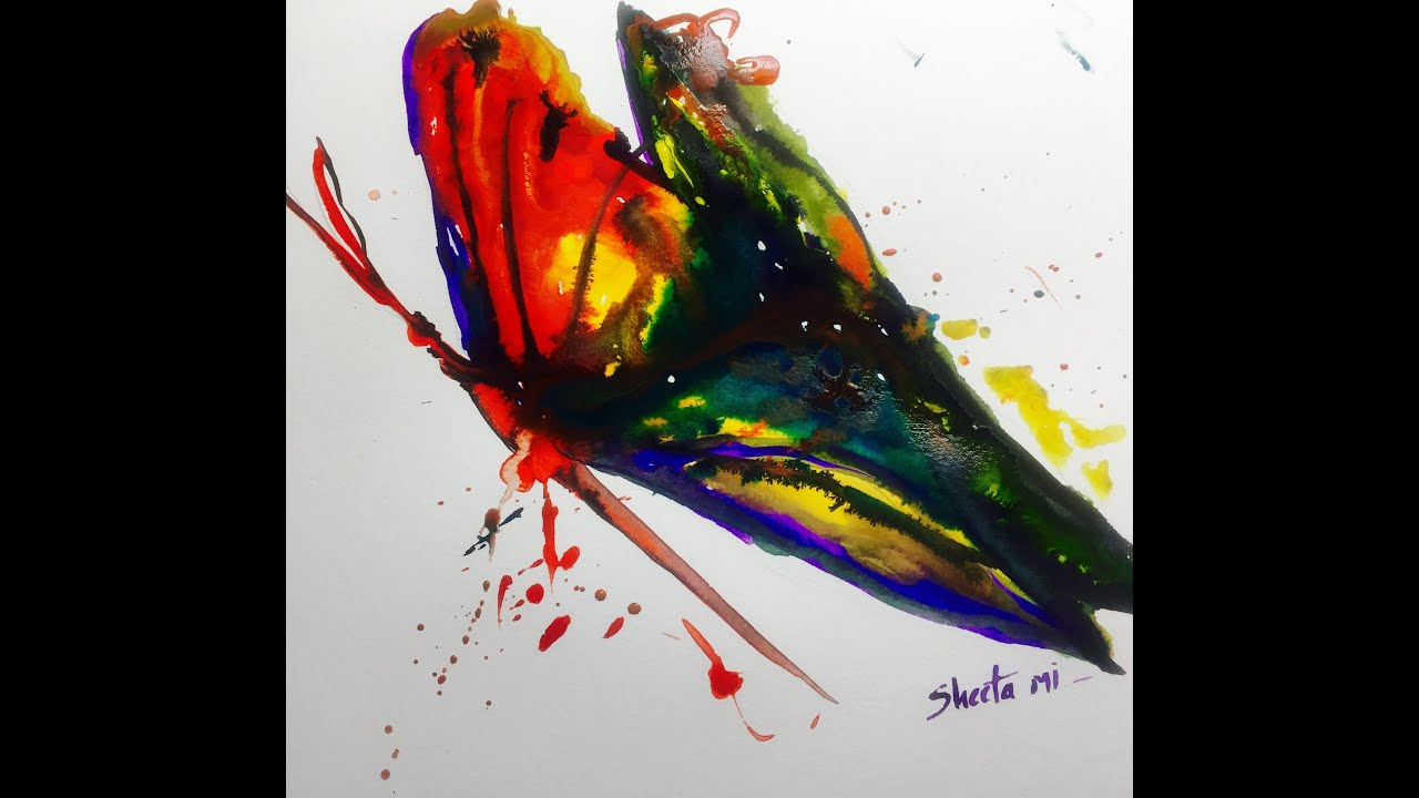 Watercolor butterfly painting tutorial youtube for How to paint abstract with watercolors