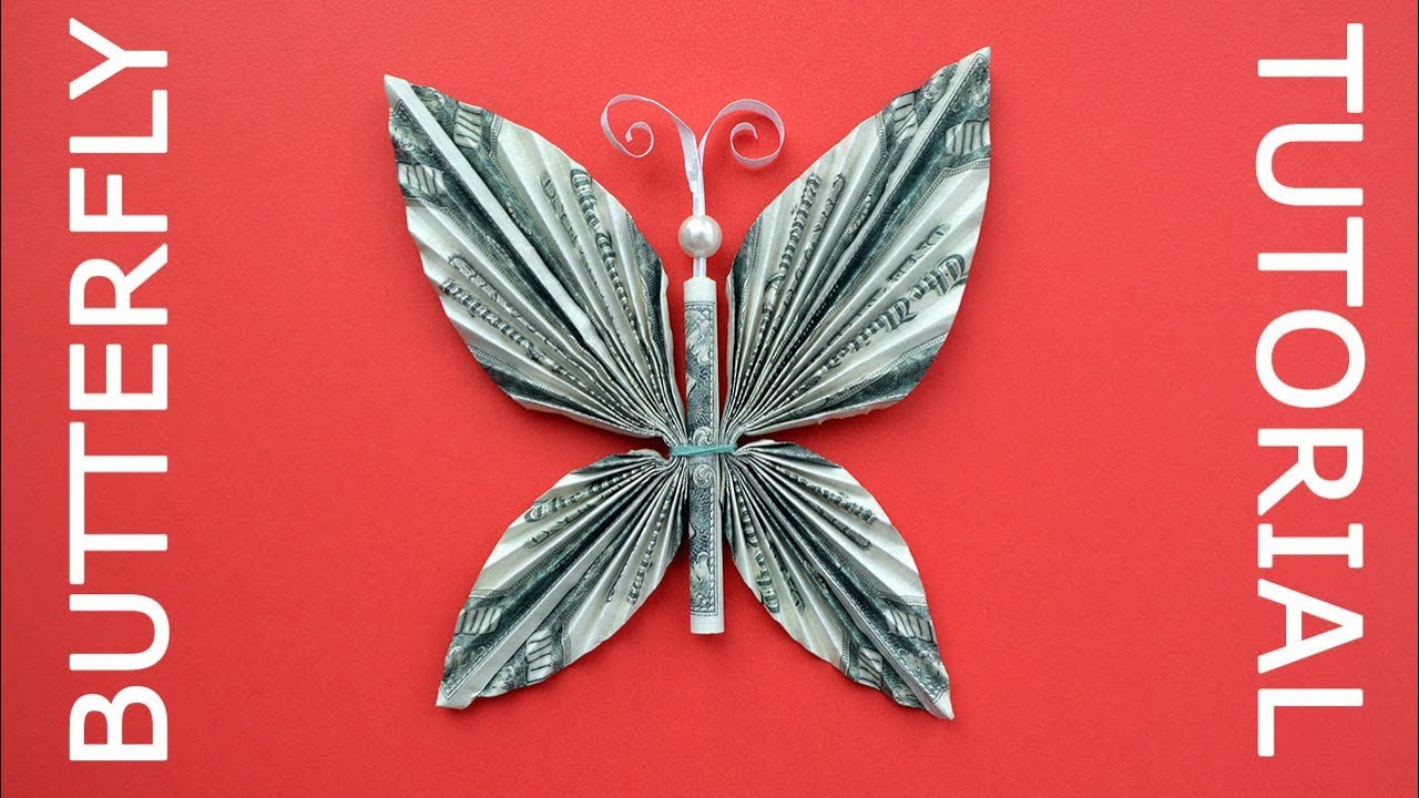How to Make a Money Origami Butterfly Tutorial DIY at Home - YouTube | 720x1280