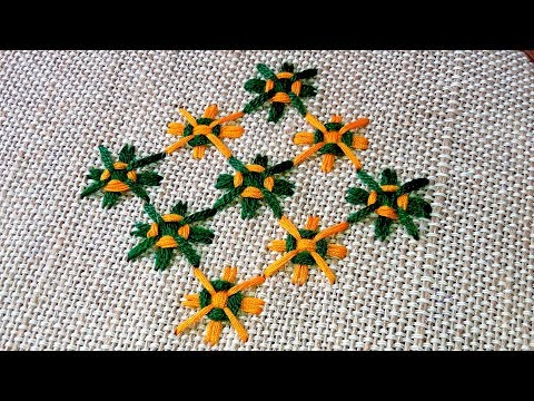Hand Embroidery floor mat design by cherry blossom.