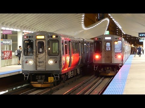 CTA Transit: Brown Orange & Green Lines at the new Washington/Wabash Station (4 Cars Late Evening)