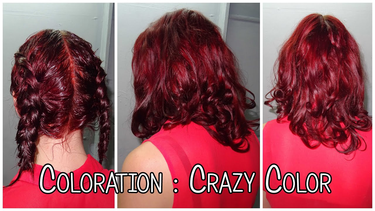 coloration rouge coiffure crazy color vermillion red youtube. Black Bedroom Furniture Sets. Home Design Ideas