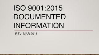 ISO 9001 2015 Documented Information