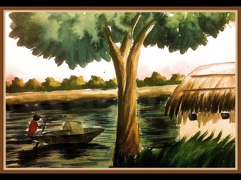 Scenery with pond made with artist colour. By Art craft invention