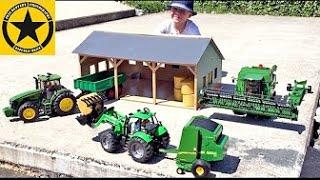 BRUDER JOHN DEERE Hay-Harvest with Baler from ERTL Bruder toy videos