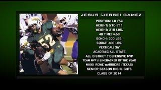 jesus jesse gamez lb 52 rowe high school 2013 senior highlights