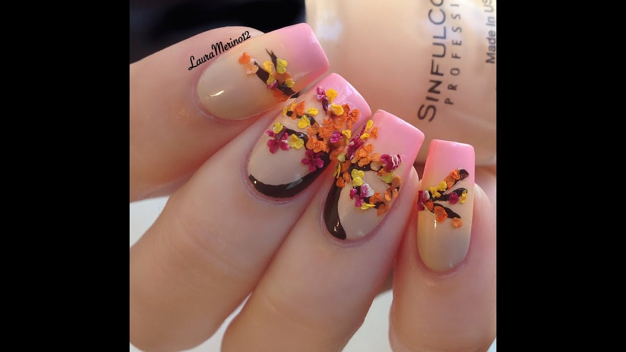 Easy Tutorial- Fall inspired Nails - YouTube