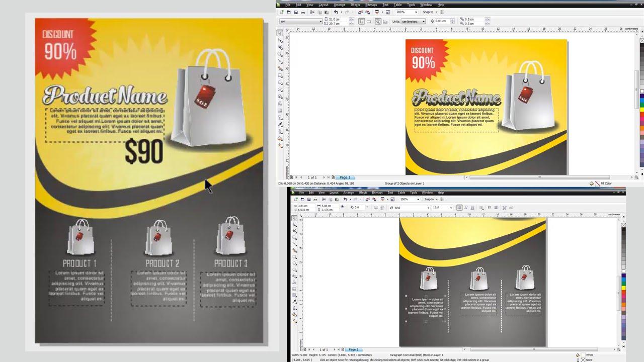 Cara Membuat Desain Flyer Poster Brosur Di Coreldraw Youtube