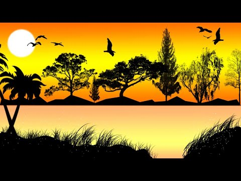 Sunset Landscape Drawing Photoshop | Photoshop Basics