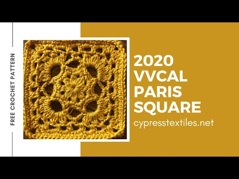 Paris Square - 2020 VVCAL Week 2 Crochet Motif - Free Croche
