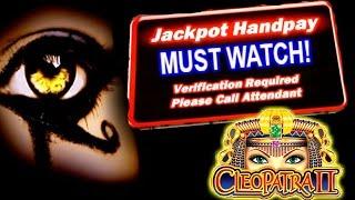 ★JACKPOT HANDPAY★ HIGH LIMIT CLEOPATRA 2 SLOT MACHINE LIVE PLAY & BONUS