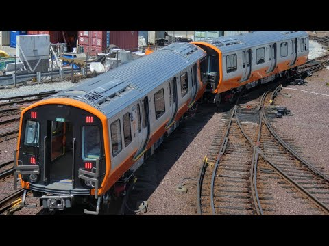 Brand New MBTA Orange Line Cars Move at Wellington Yard