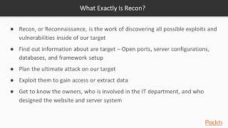 Kali Linux: Tips, Tricks and Techniques:  What Exactly Is Recon?   packtpub.com