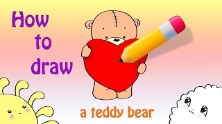 How To Draw a Cute Teddy Bear With a Heart / a Valentine's Day Card Drawing ^_^