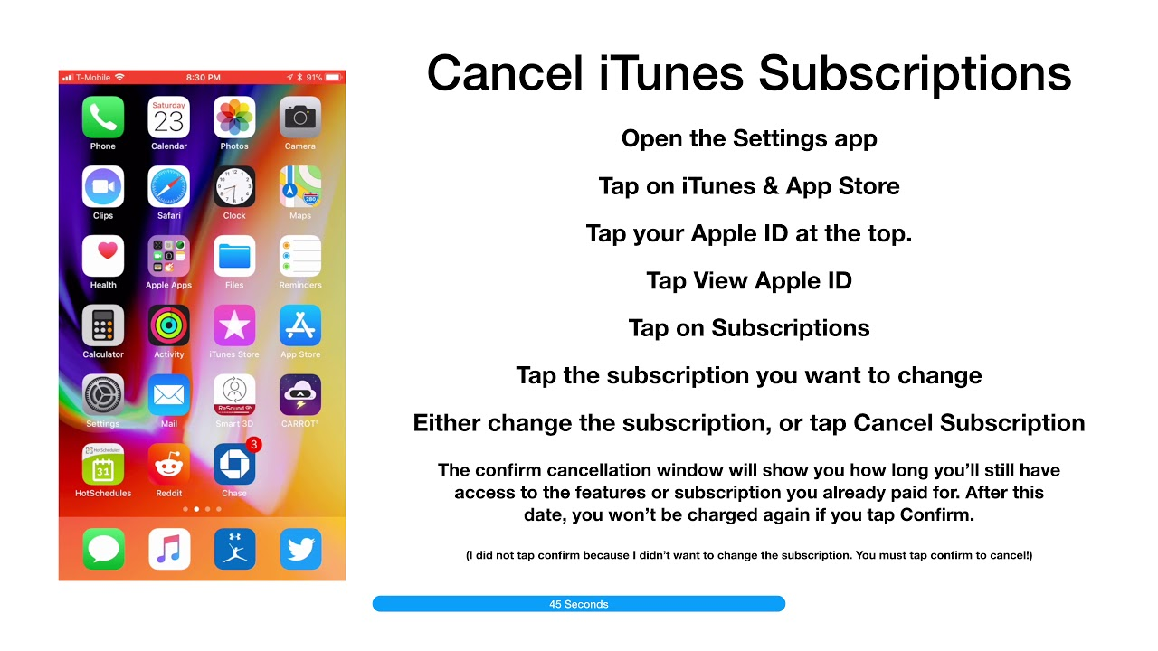 how do you cancel an app subscription