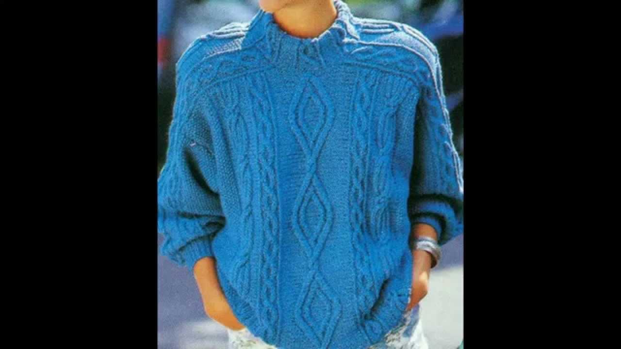 Patrón para tejer suéter con muestras de trenzas - YouTube