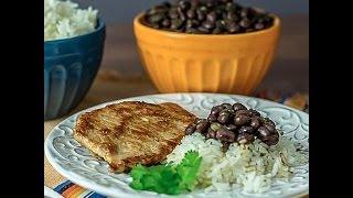 How To Make Cuban Food: Arroz Con Frijoles Negro Y Chuleta De Puerco (pork Chops And Rice)